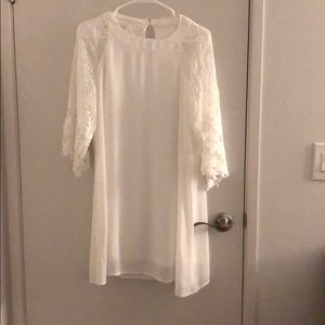 White shear dress with lace sleeves